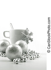 Christmas cup - Christmas ball and cup on the white...