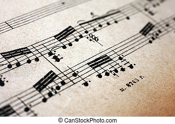 Old notes - Old vintage musical page close-up