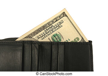 Black wallet and one hundred dollar bill - A Black wallet...