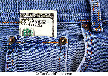 One hundred dollar bill in jeans pocket - A One hundred...