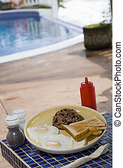 nicaraguan breakfast - classic typical breakfast in...