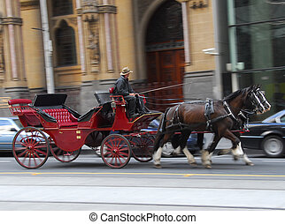 Carriage - Red horse carriage tour in city of Melbourne...