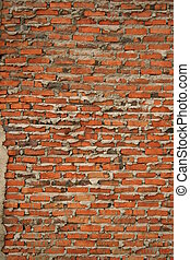 Red brick wall found in residential housing construction