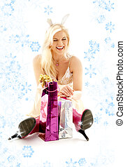 happy bunny girl with snowflakes - happy girl with bunny...