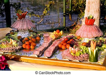 roast beef sliced - colorful presentation of sliced prime...