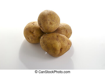 Potatos isolated against a white background