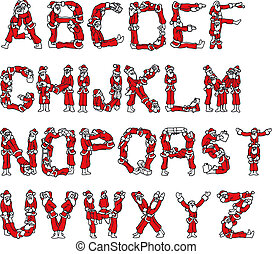 Santa Claus Alphabet - Illustration of Santa Claus Alphabet