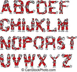 Santa Claus Alphabet - Illustration of Santa Claus Alphabet