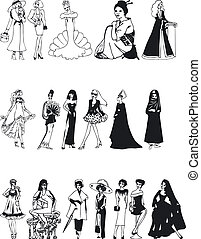 Fashion Silouettes - Illustration of Fashion Silouettes