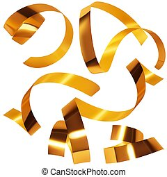 Golden confetti A - Highly detailed illustration - Gold...