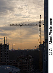 construction at a sunrise - construction work at a sunrise...