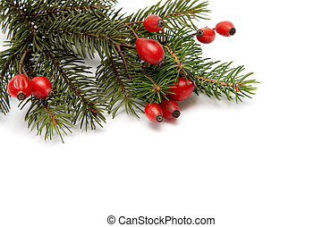 Red-green christmas arragement - Red rose hips and green...