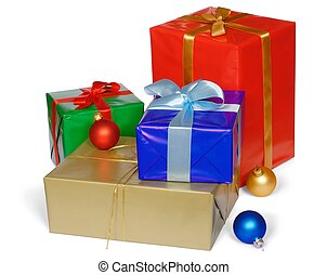 Christmas Gifts - Christmas gifts isolated on white...