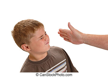 Child Abuse - Child being slapped by an adult, isolated on...