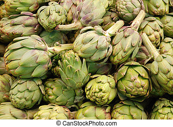Fresh artichokes at market