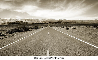 Road to eternity - Empty californian highway through the...