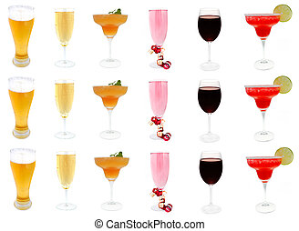alcoholic drinks - collection of alcoholic drinks isolated...