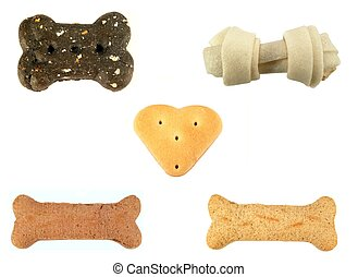 Dog treats - Assortment of dog treats isolated on a white...
