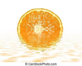 Orange reflections - beautiful orange slice with water...