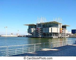 The Lisbon Oceanarium, a modern building in the Expo area