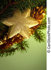 Golden-green christmas decoration - Golden decorations and...