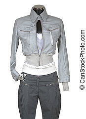 Leather jacket and trousers on a white background