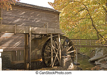 Mill Wheel - An old grist mill showing the water turning...