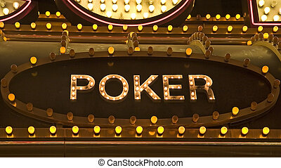 Poker Sign - An old fashioned sign of light bulbs for a...