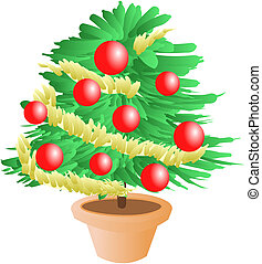 christmas tree - funny christmas tree illustration with red...