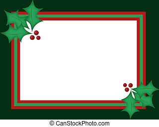 Holly Christmas Card - Green and red blank background with...