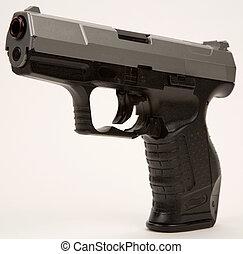 semi, automático, mano, arma de fuego