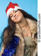 woman in fur coat - young woman in fur coat with christmas...