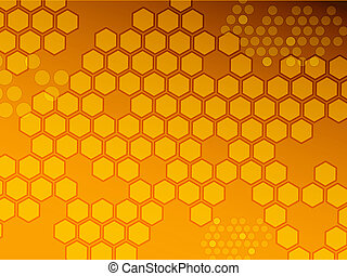 Hexagon background warm tones, illustration