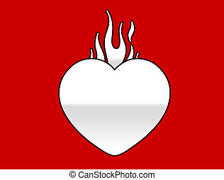 flaming heart - A flaming heart on a red background