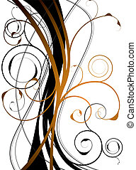 orange floral swirl - abstract orange and black background...