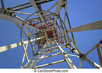 iron framework pylon from above