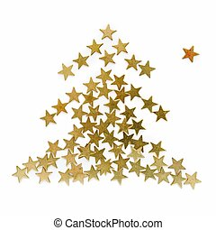fur-tree - New Year\\\'s fur-tree - gold confetti on a white...