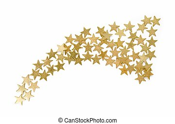 Christmas salute - gold confetti on a white background.