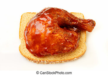 Barbecue chicken - Barbeque chicken leg and thigh on wheat...