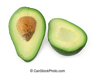 avocado cut in half against white background, minimal...
