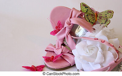 Girlie Stuff - Pink leather girl shoes with white rose and...