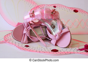Girlie Stuff - Pink shoes and accessories in large butterfly...