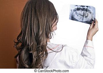 Doctor Examining X-Ray - Female Doctor Examining X-Ray...