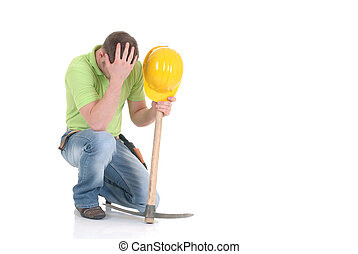 Troubled construction worker - Handsome young troubled...