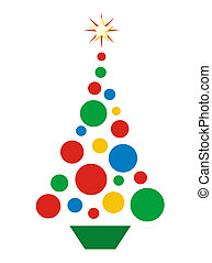 Christmas Ball Tree - Simple illustration of Christmas tree...