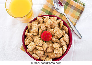 Wheat Squares, Orange Juice and Bananas for Breakfast
