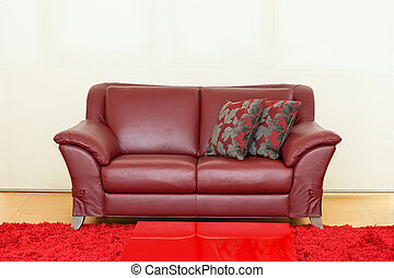 Dark red sofa