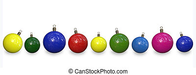 christmas decorations - row of nice bright colourful...