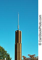 Church Steeple - A church steeple against a clear blue sky.