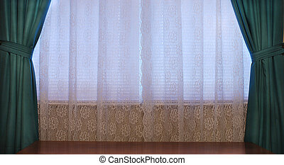 Window Curtains And Table Top - House interior window with...
